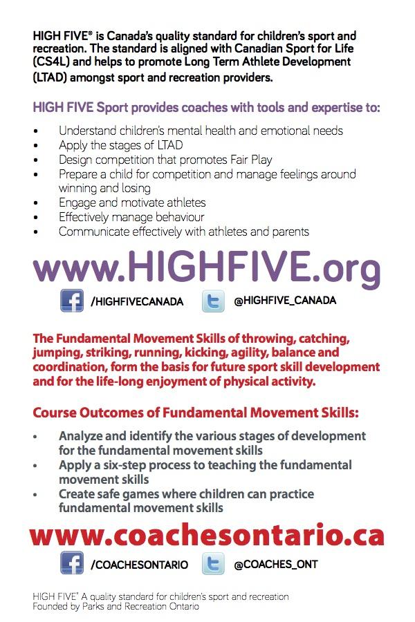 High Five Sport And Fundamental Movement Skills Certification